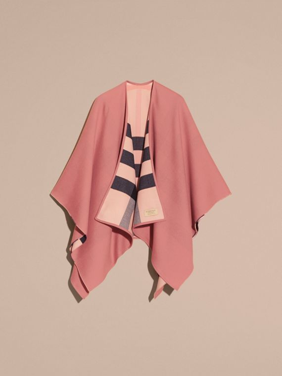 Reversible Check Merino Wool Poncho in Ash Rose - Women | Burberry - cell image 3