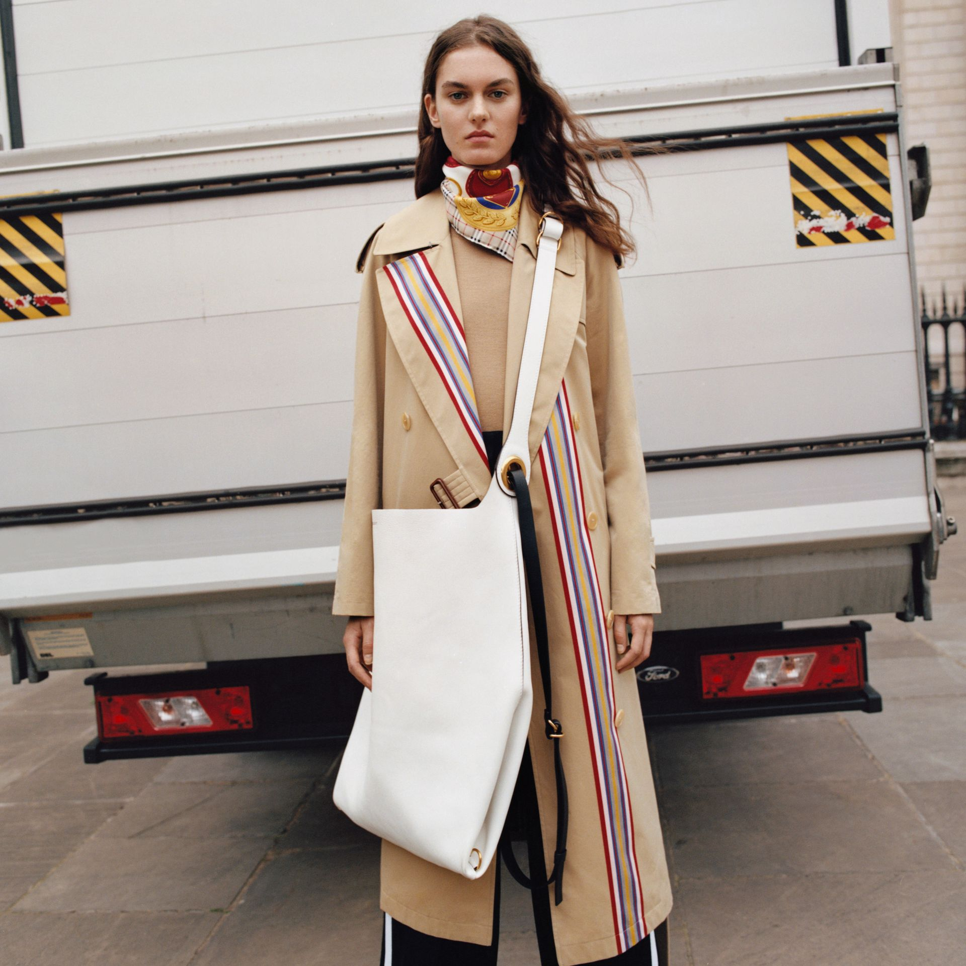 Striped Ribbon Gabardine Oversized Trench Coat in Honey - Women | Burberry United Kingdom - gallery image 1