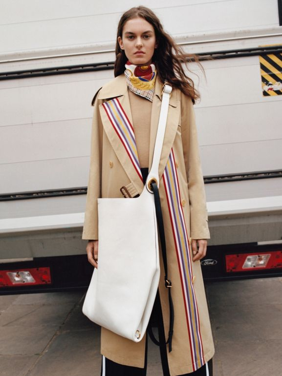 Striped Ribbon Gabardine Oversized Trench Coat in Honey - Women | Burberry - cell image 1