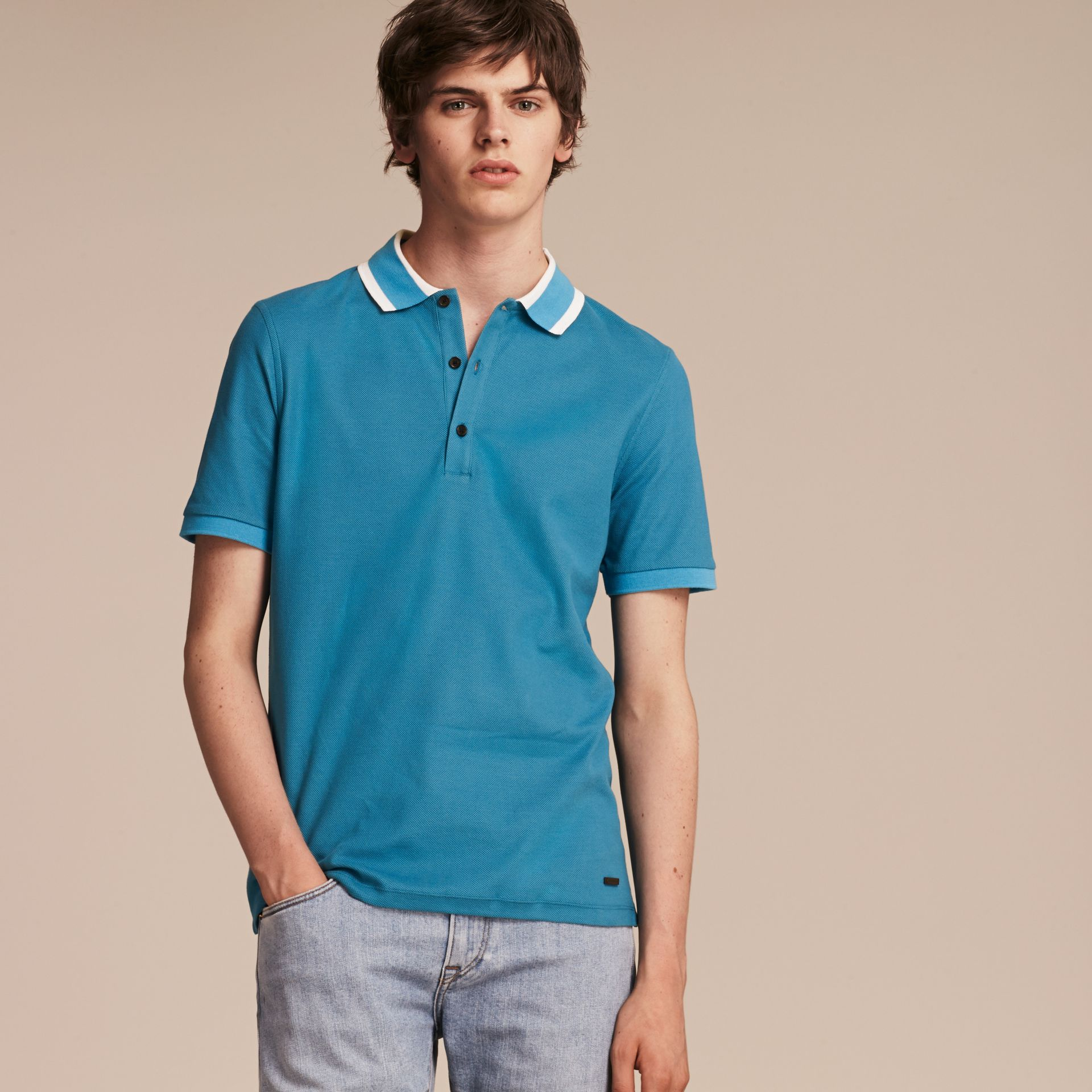 Striped Collar Cotton Piqué Polo Shirt Bright Turquoise - gallery image 6