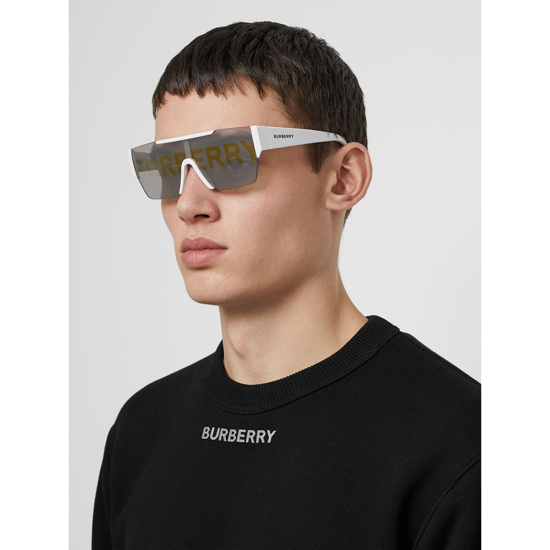 Logo Lens D-frame Sunglasses in White | Burberry United Kingdom - gallery image 5