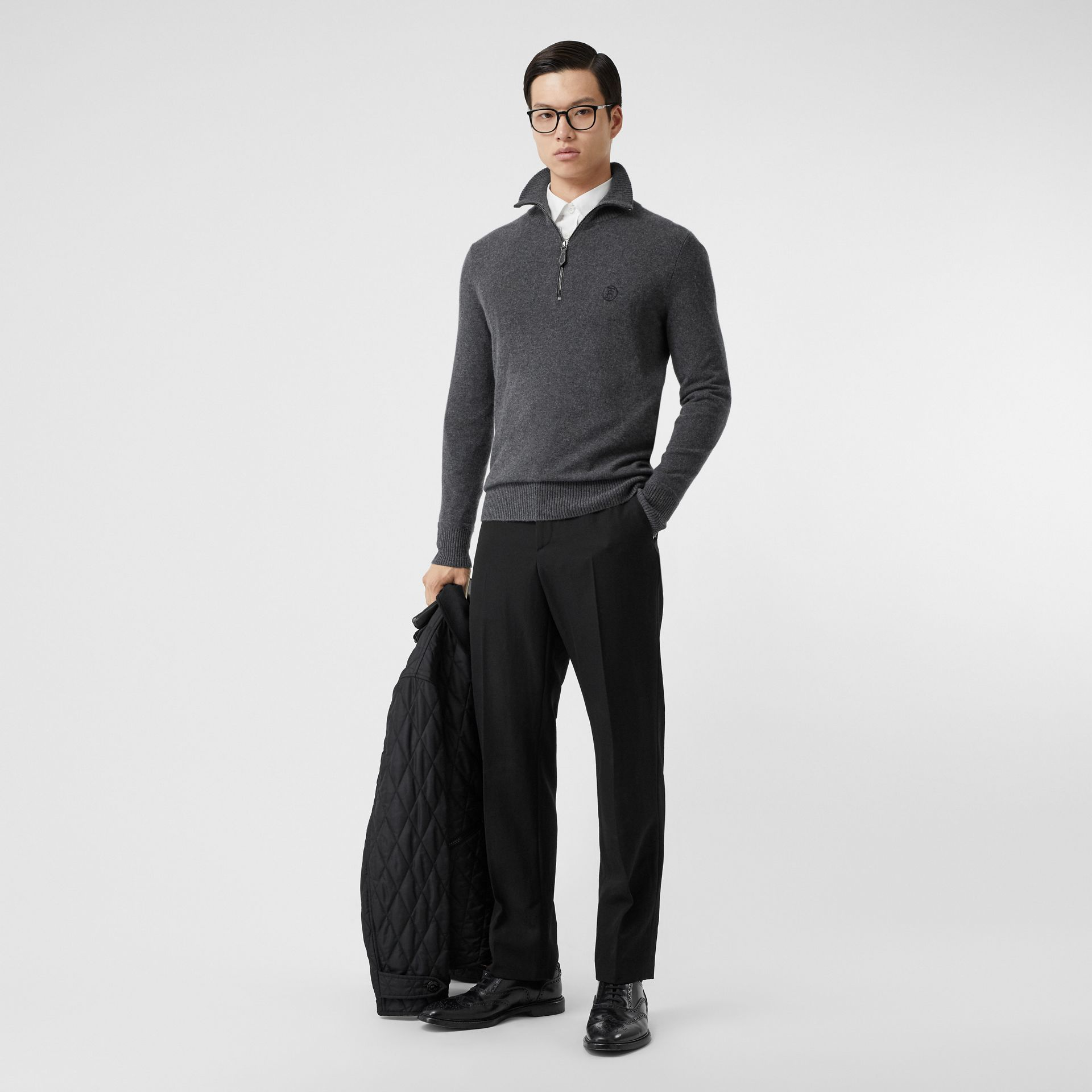 Monogram Motif Cashmere Funnel Neck Sweater in Steel Grey - Men | Burberry - gallery image 5