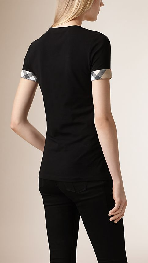 Black Check Cuff Stretch Cotton T-Shirt - Image 2
