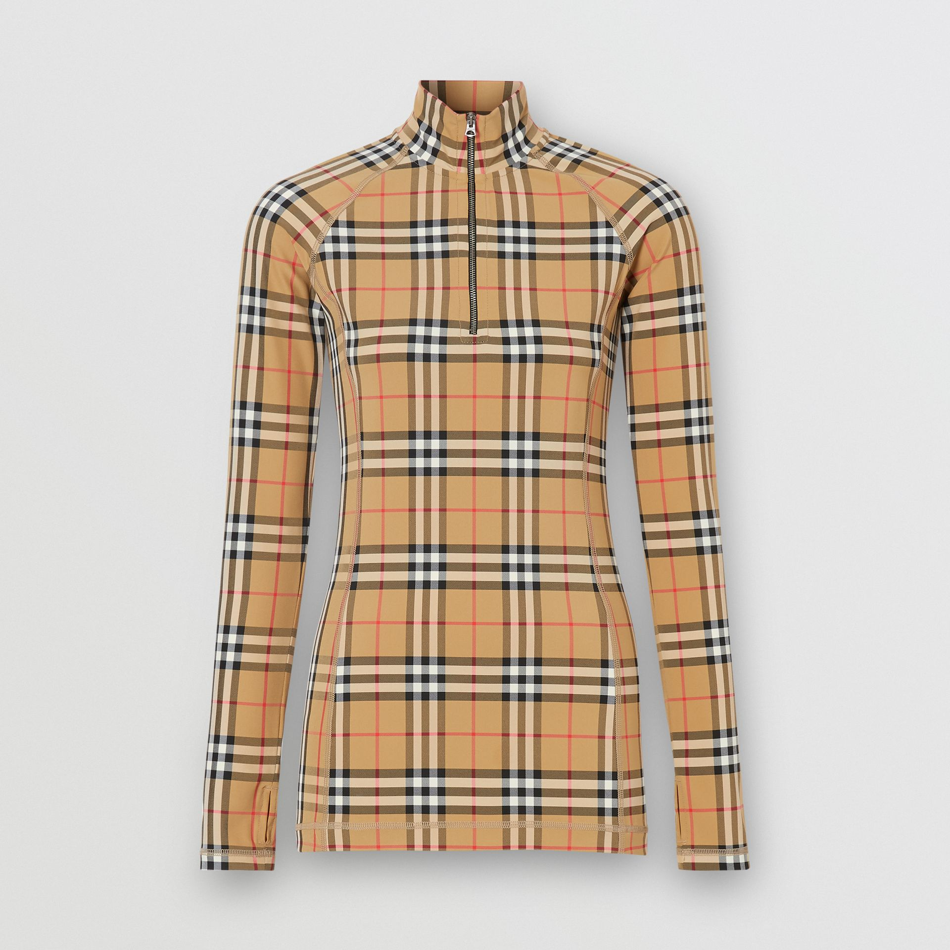Vintage Check Stretch Jersey Turtleneck Top in Archive Beige - Women | Burberry - gallery image 3