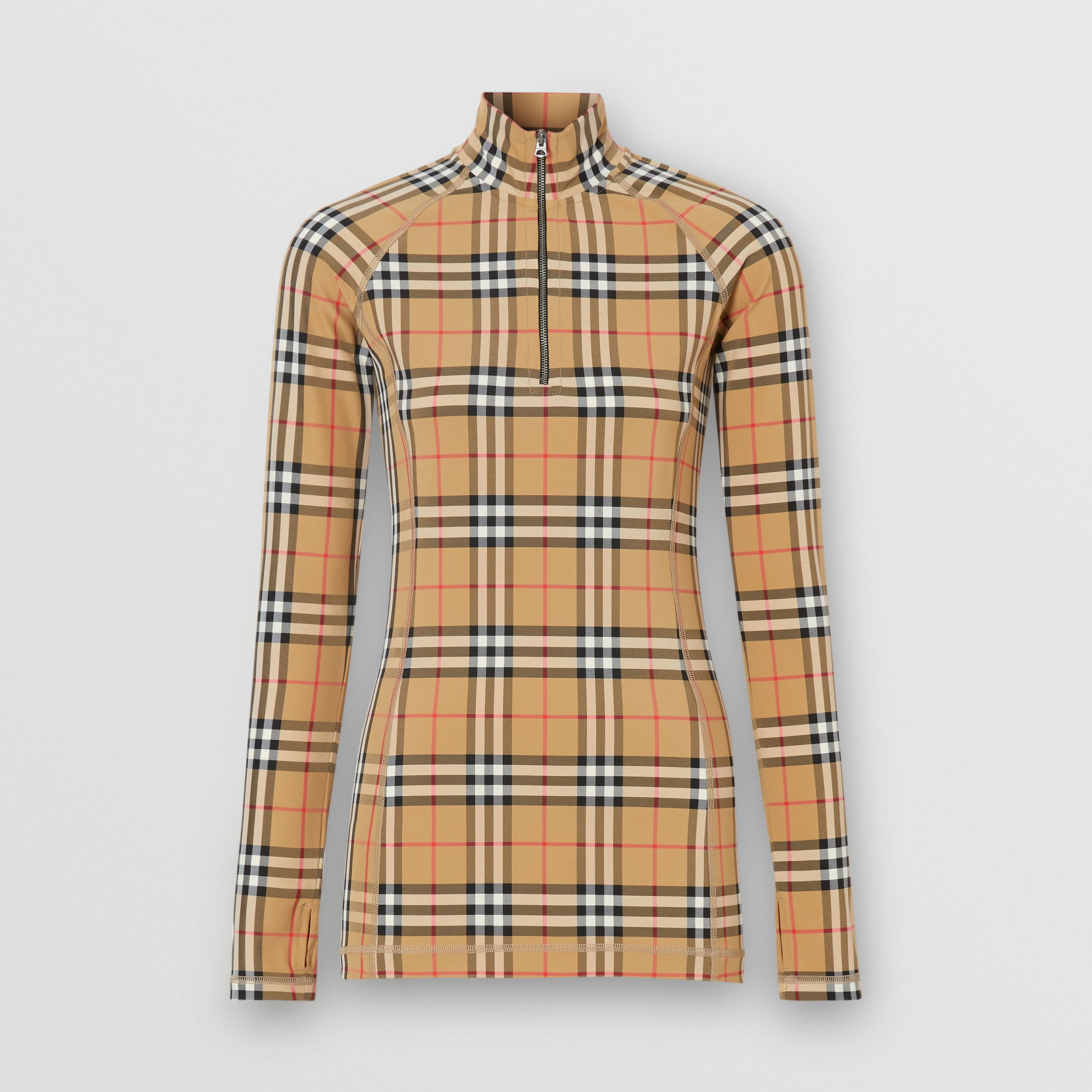 Vintage Check Stretch Jersey Turtleneck Top in Archive Beige - Women | Burberry - 4