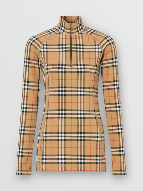 Vintage Check Stretch Jersey Turtleneck Top in Archive Beige - Women | Burberry - cell image 3