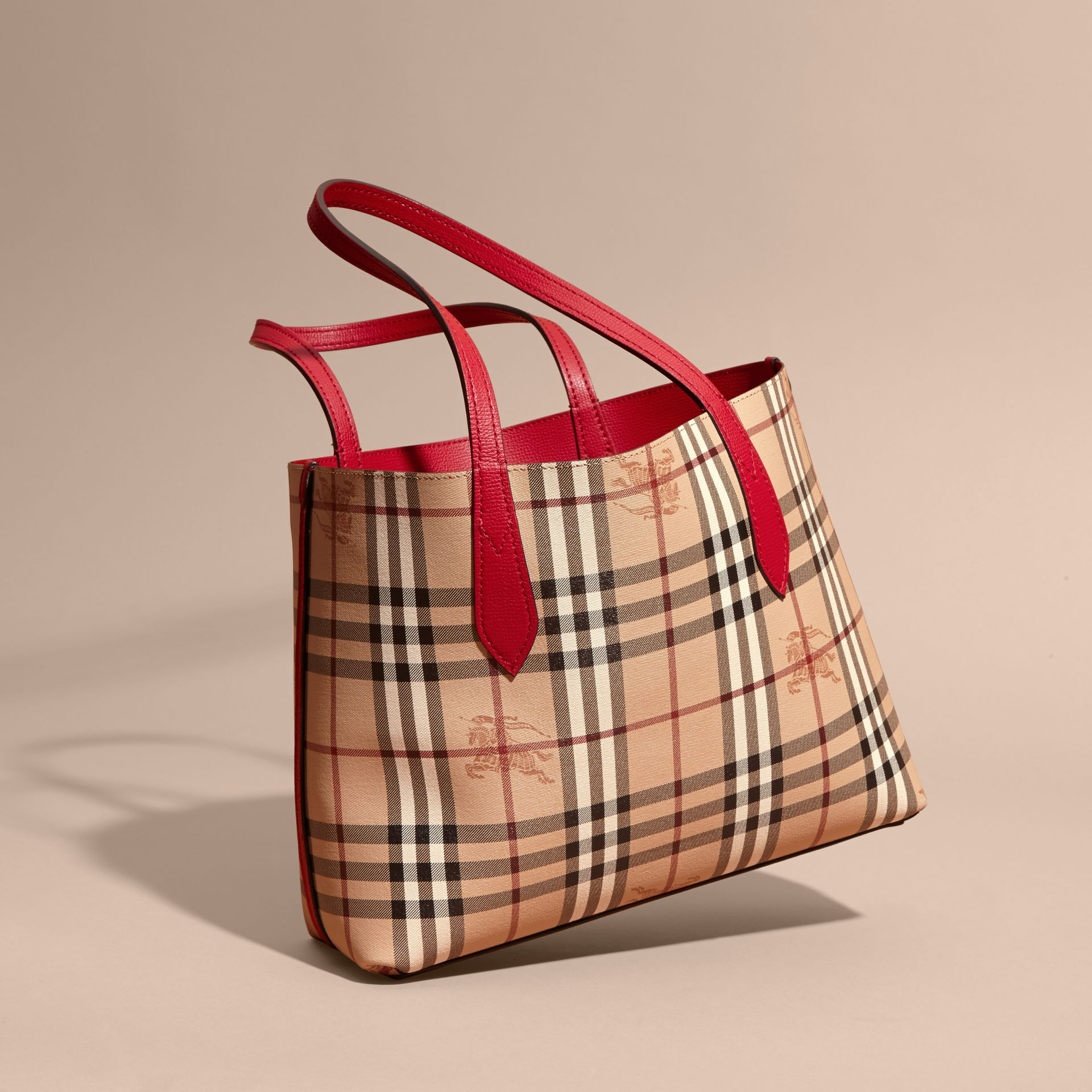 The Small Reversible Tote in Haymarket Check and Leather Poppy Red - gallery image 8