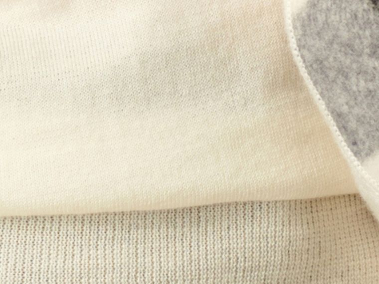 Natural white Check Detail Merino Crew Neck Sweater Natural White - cell image 1