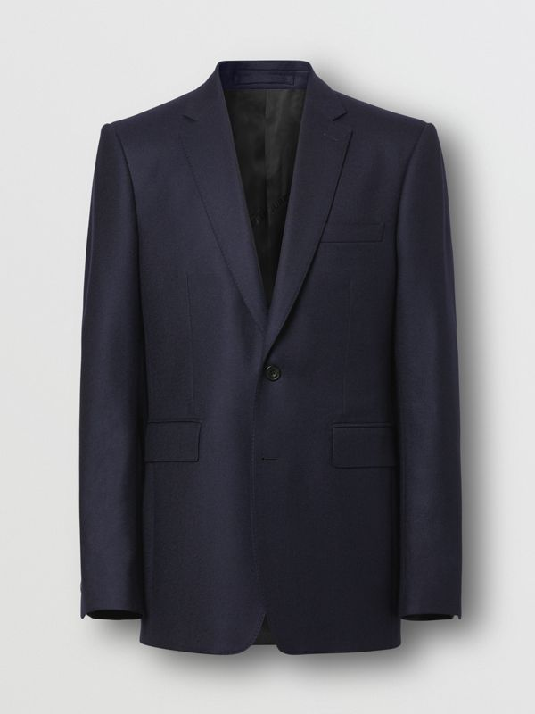 Classic Fit Wool Flannel Tailored Jacket in Navy - Men | Burberry - cell image 3
