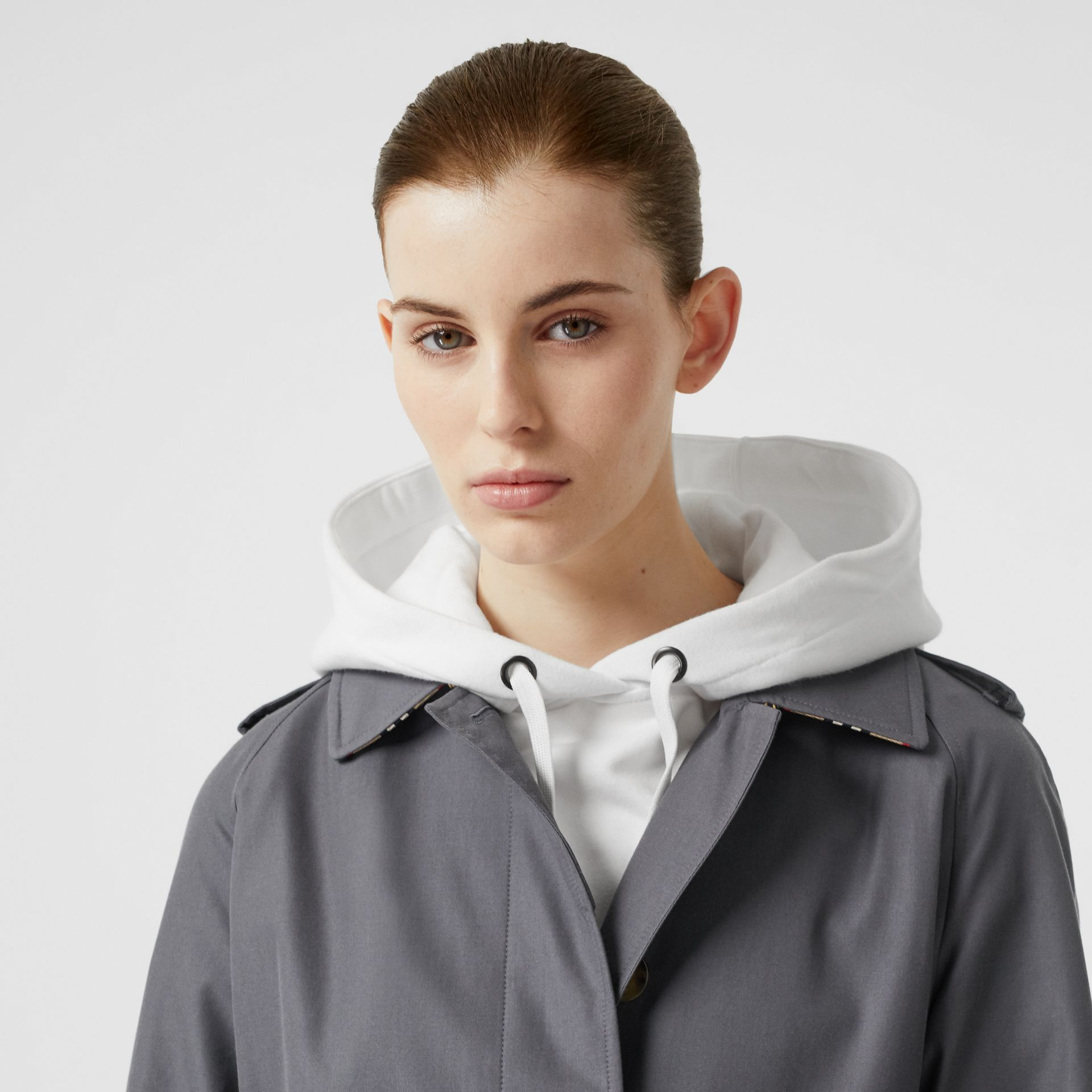 Cotton Gabardine Belted Car Coat in Mid Grey - Women | Burberry Canada - gallery image 1