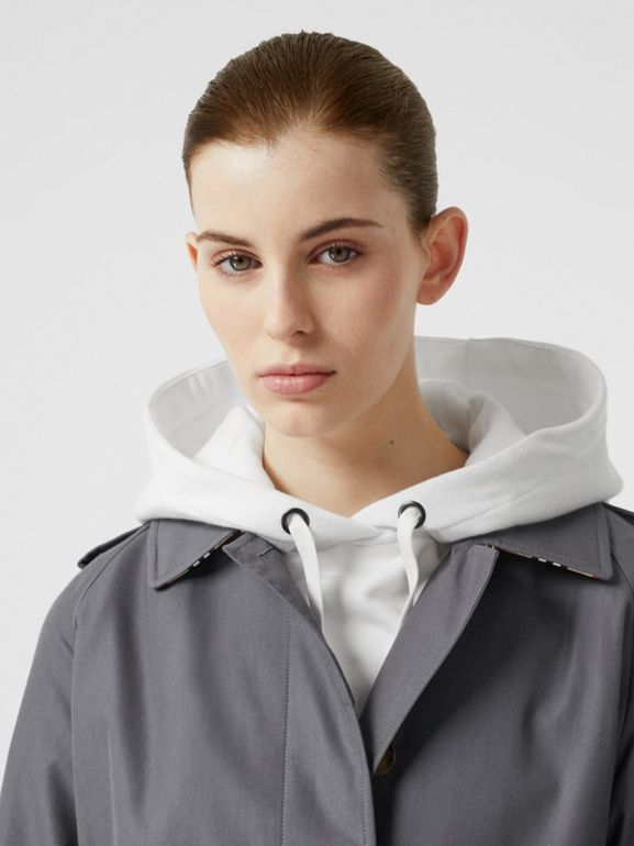 Cotton Gabardine Belted Car Coat in Mid Grey - Women | Burberry - cell image 1