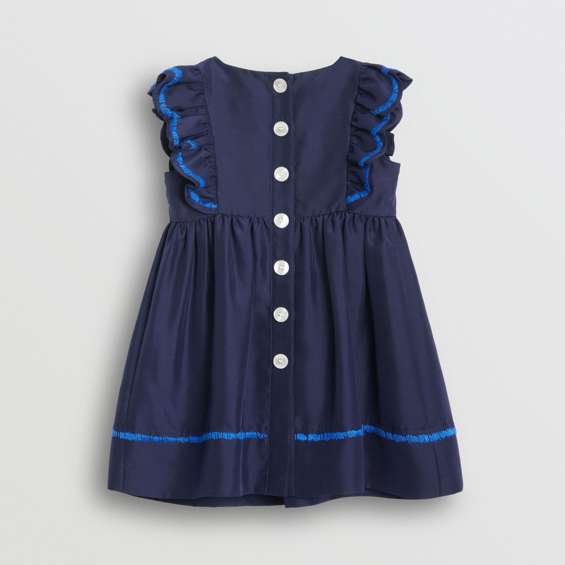 Ruffle Detail Embroidered Silk Dress with Bloomers in Navy - Children | Burberry - gallery image 3