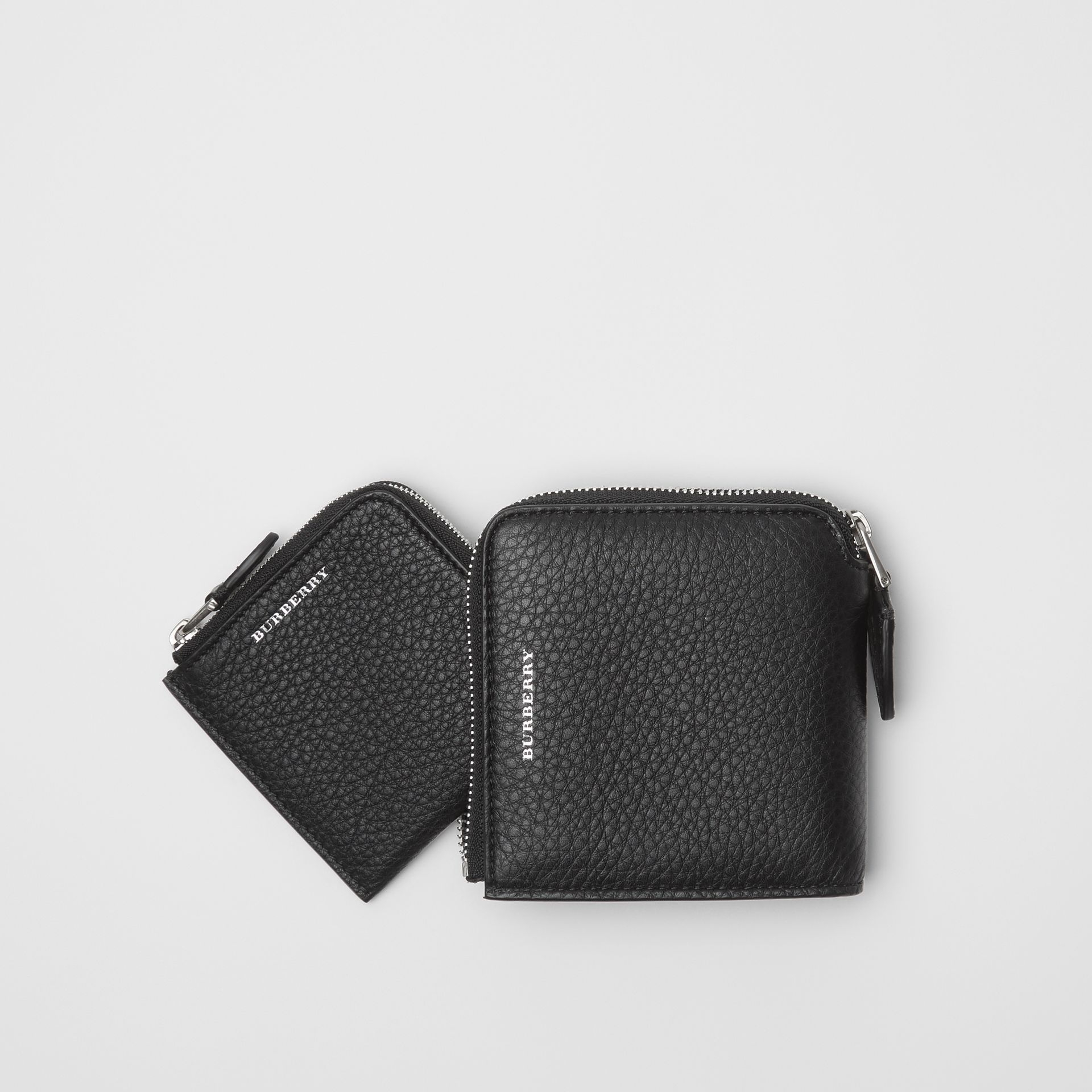 Grainy Leather Square Ziparound Wallet in Black - Women | Burberry - gallery image 2