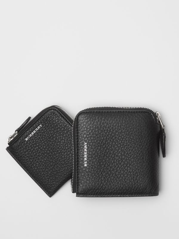 Grainy Leather Square Ziparound Wallet in Black - Women | Burberry United States - cell image 2