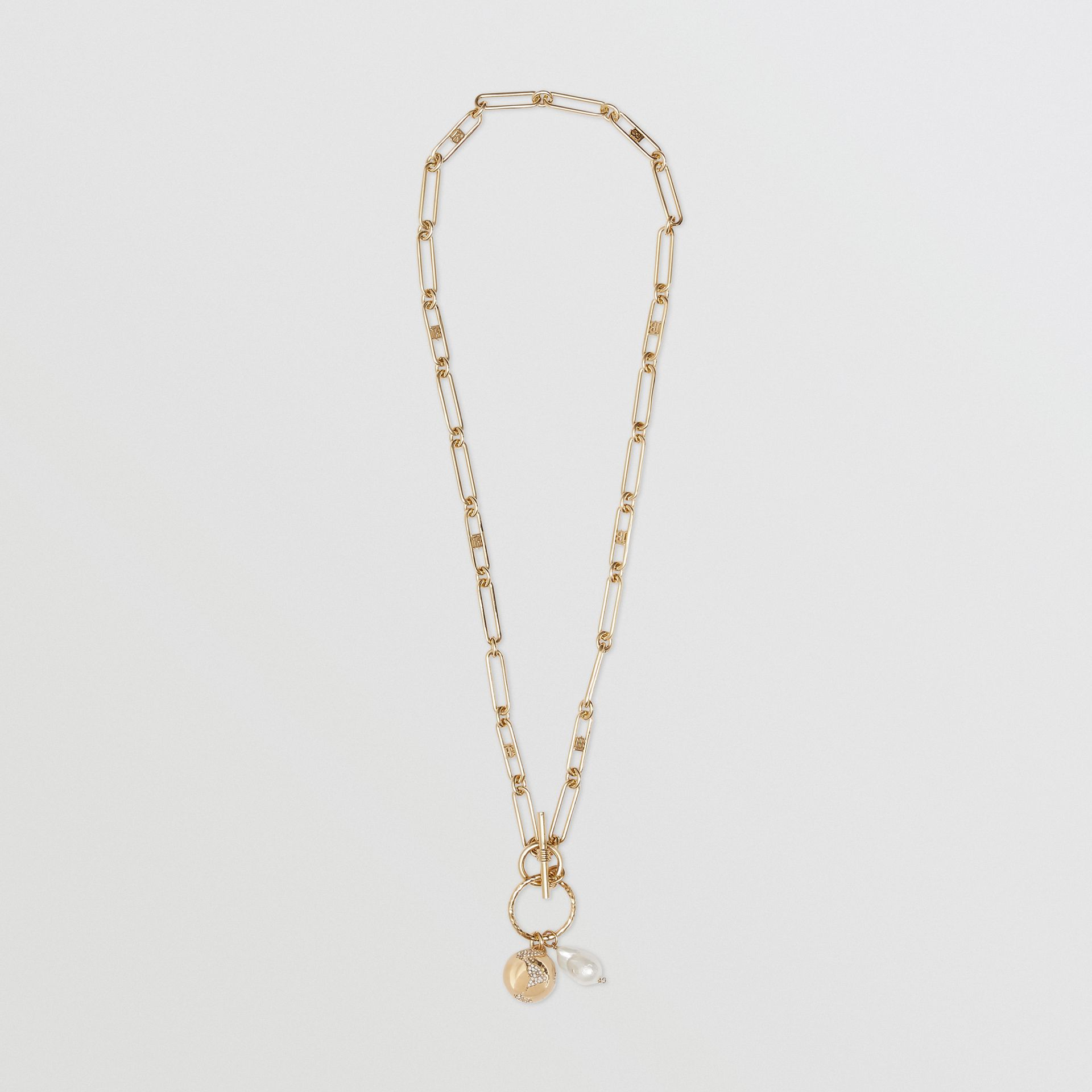 Resin Pearl Gold-plated Chain-link Necklace in Light - Women | Burberry - gallery image 0