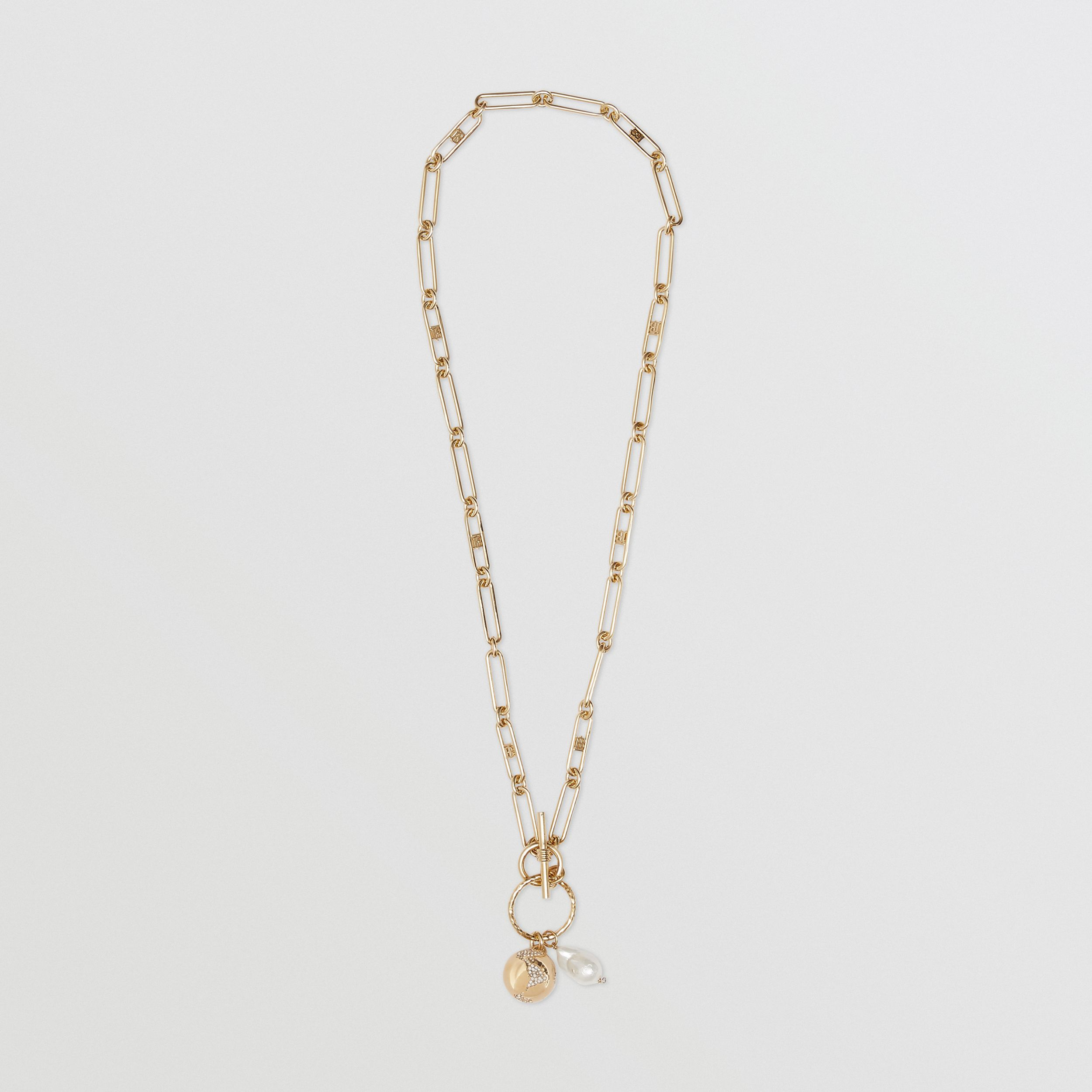 Resin Pearl Gold-plated Chain-link Necklace in Light | Burberry - 1