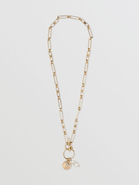 Faux Pearl Charm Gold-plated Chain Necklace in Light