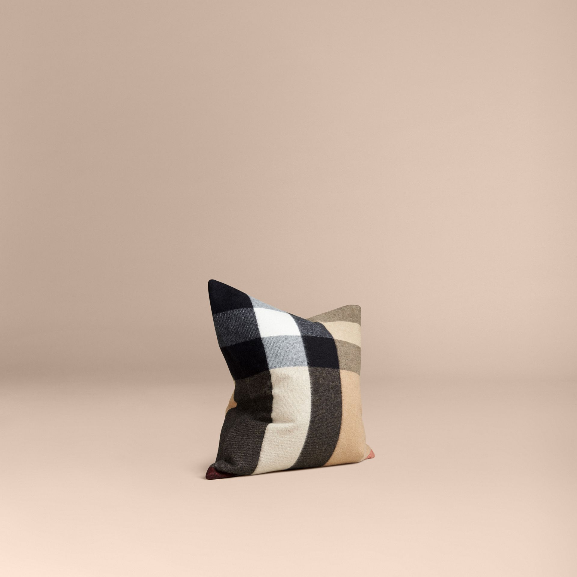 Camel Check Cashmere Cushion Cover Camel - gallery image 1