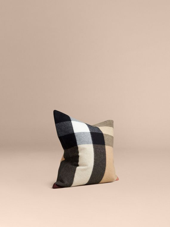 Check Cashmere Cushion Cover Camel