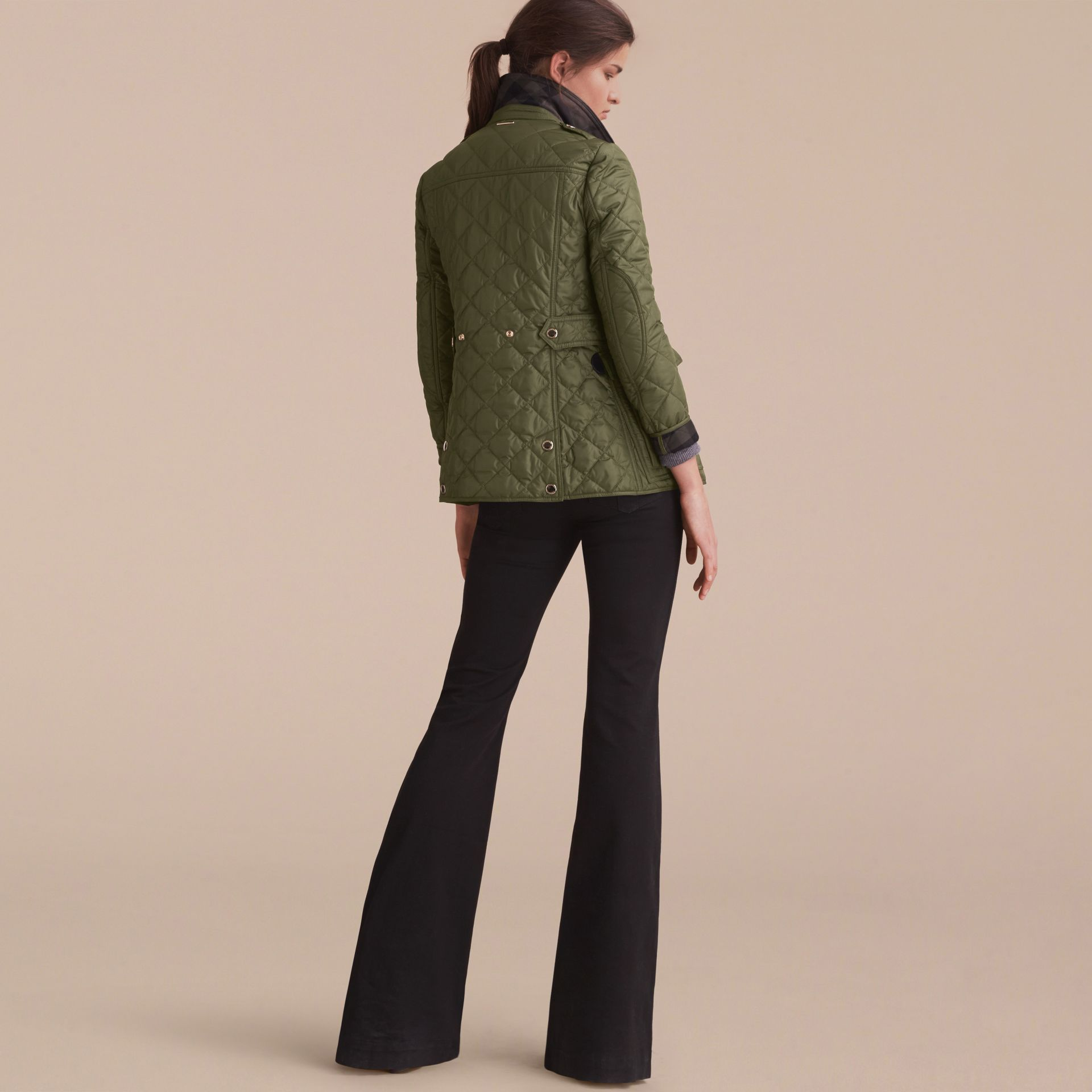 Check Detail Diamond Quilted Jacket Military Green - gallery image 3