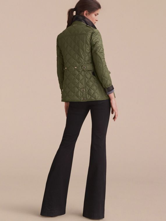 Check Detail Diamond Quilted Jacket Military Green - cell image 2