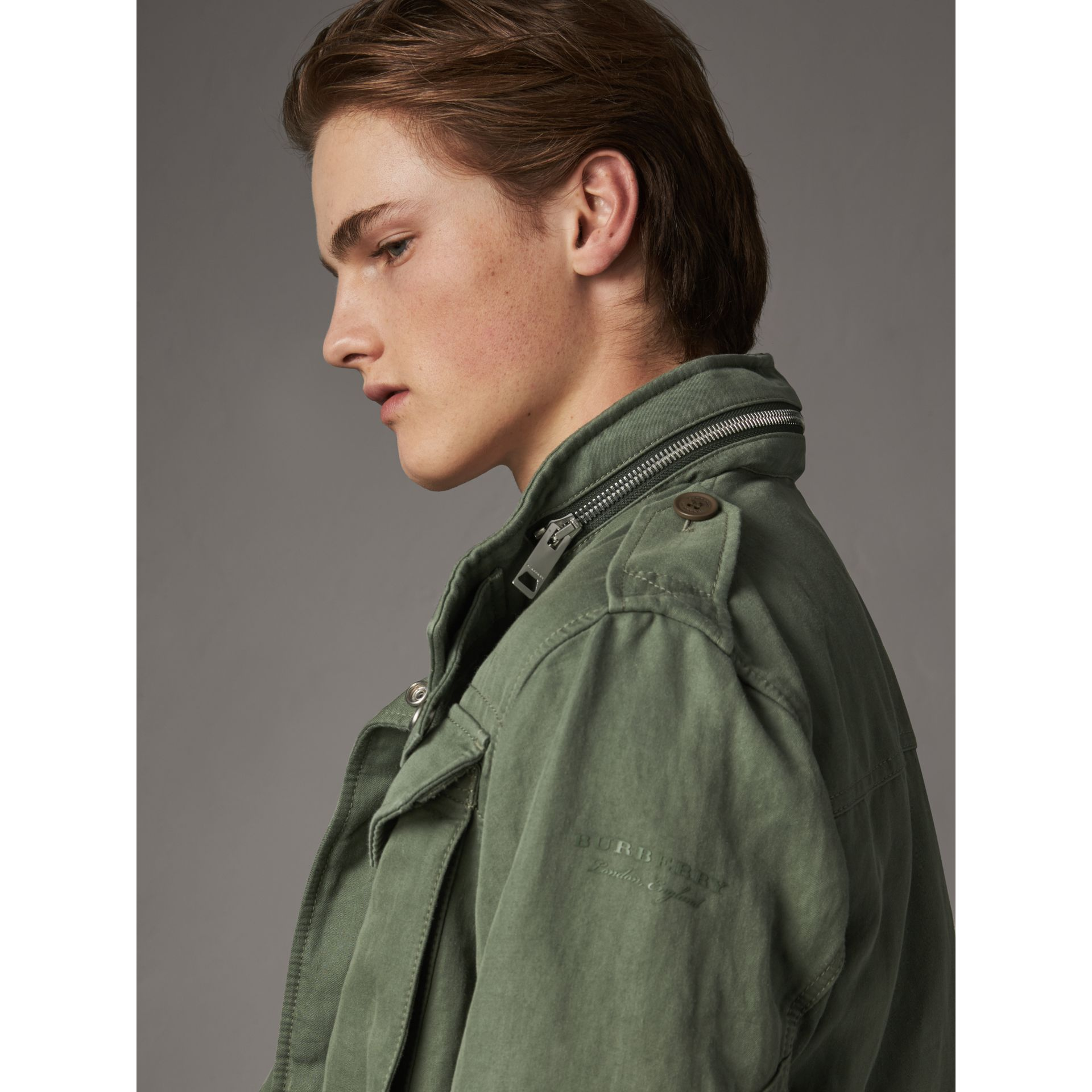 Packaway Hood Cotton Field Jacket with Fur Warmer in Slate Green - Men | Burberry - gallery image 5