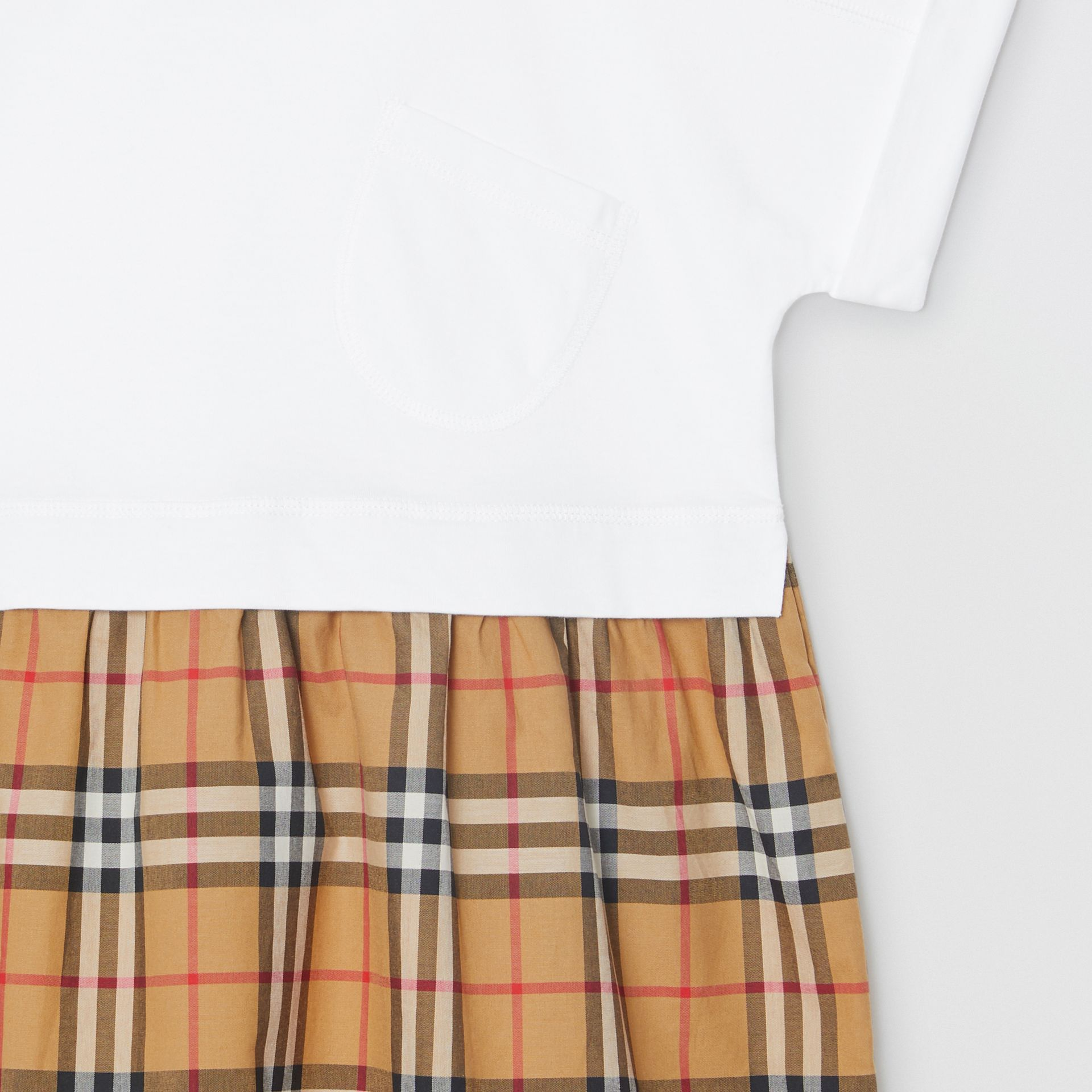 Vintage Check Cotton Dress in White | Burberry - gallery image 4
