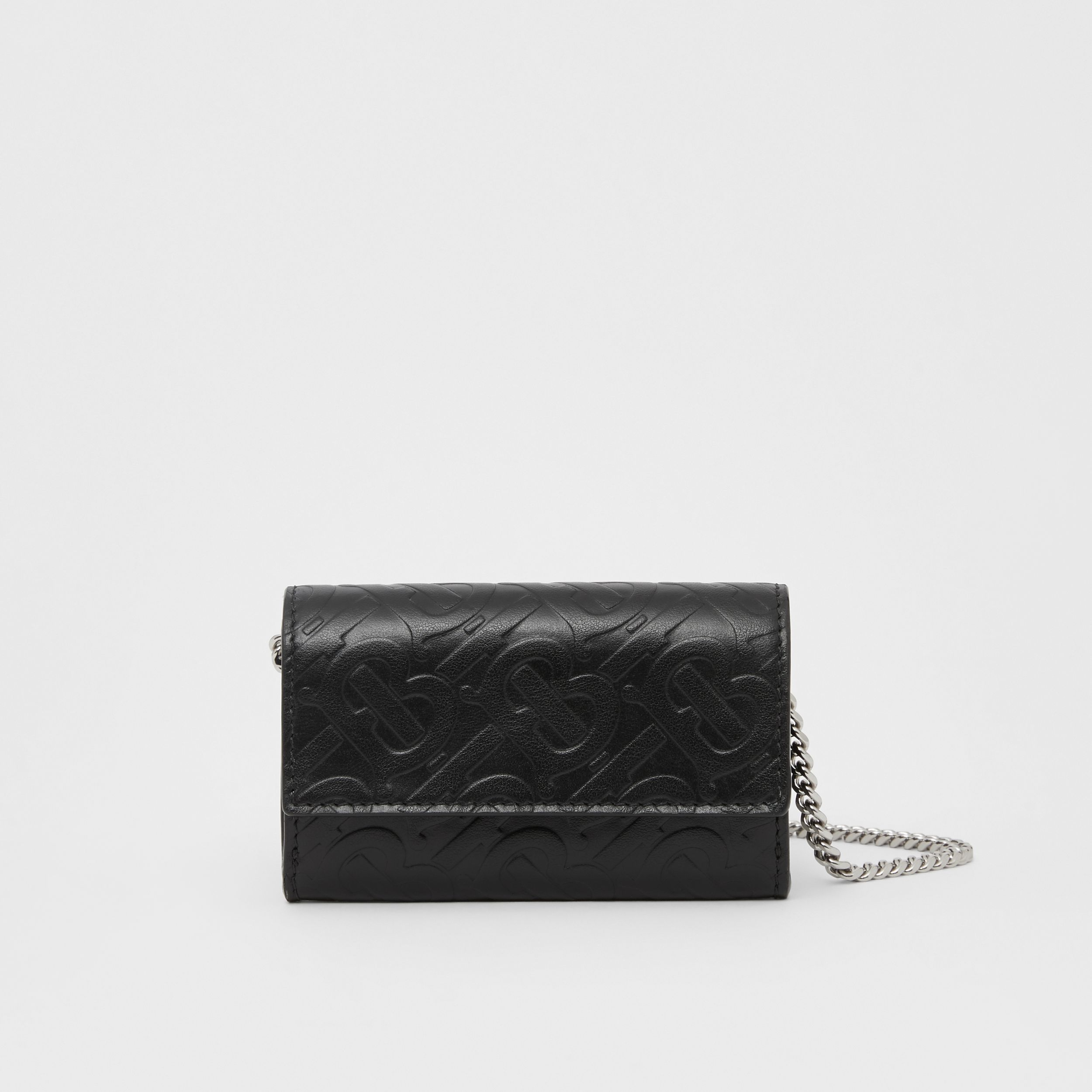 Small Monogram Leather Wallet with Detachable Strap in Black | Burberry - 1