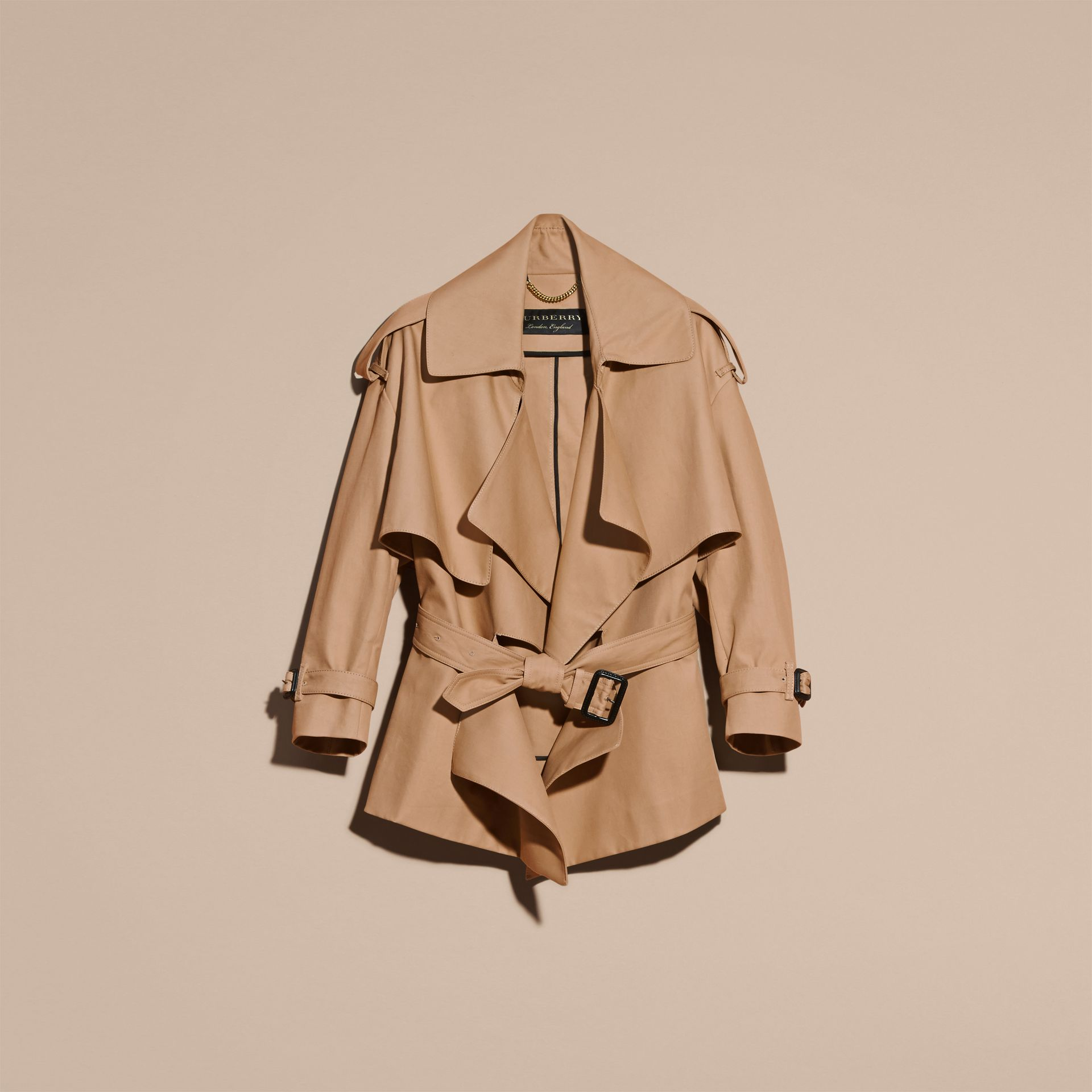 Honey Cotton Gabardine Deconstructed Cropped Trench Coat - gallery image 4