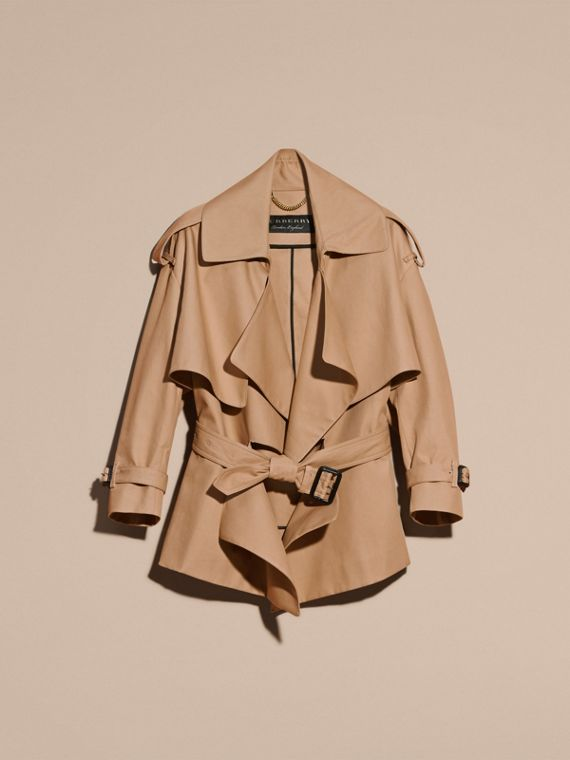 Honey Cotton Gabardine Deconstructed Cropped Trench Coat - cell image 3