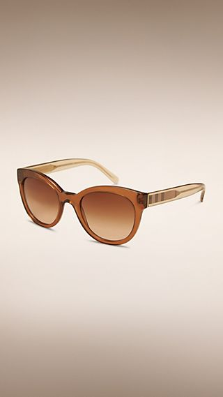 Check Detail Oval Frame Sunglasses