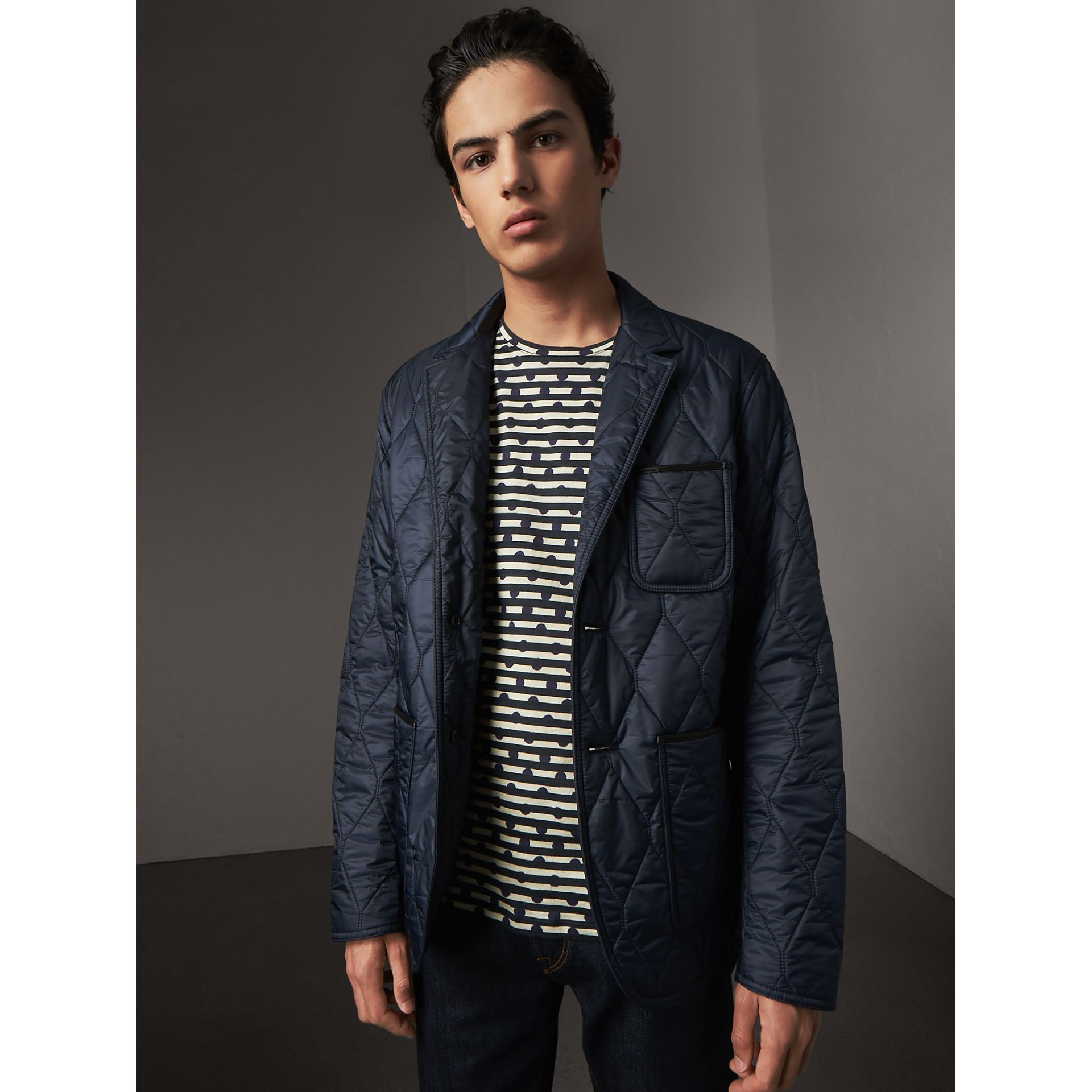Lambskin Trim Quilted Blazer in Navy - Men | Burberry - gallery image 6
