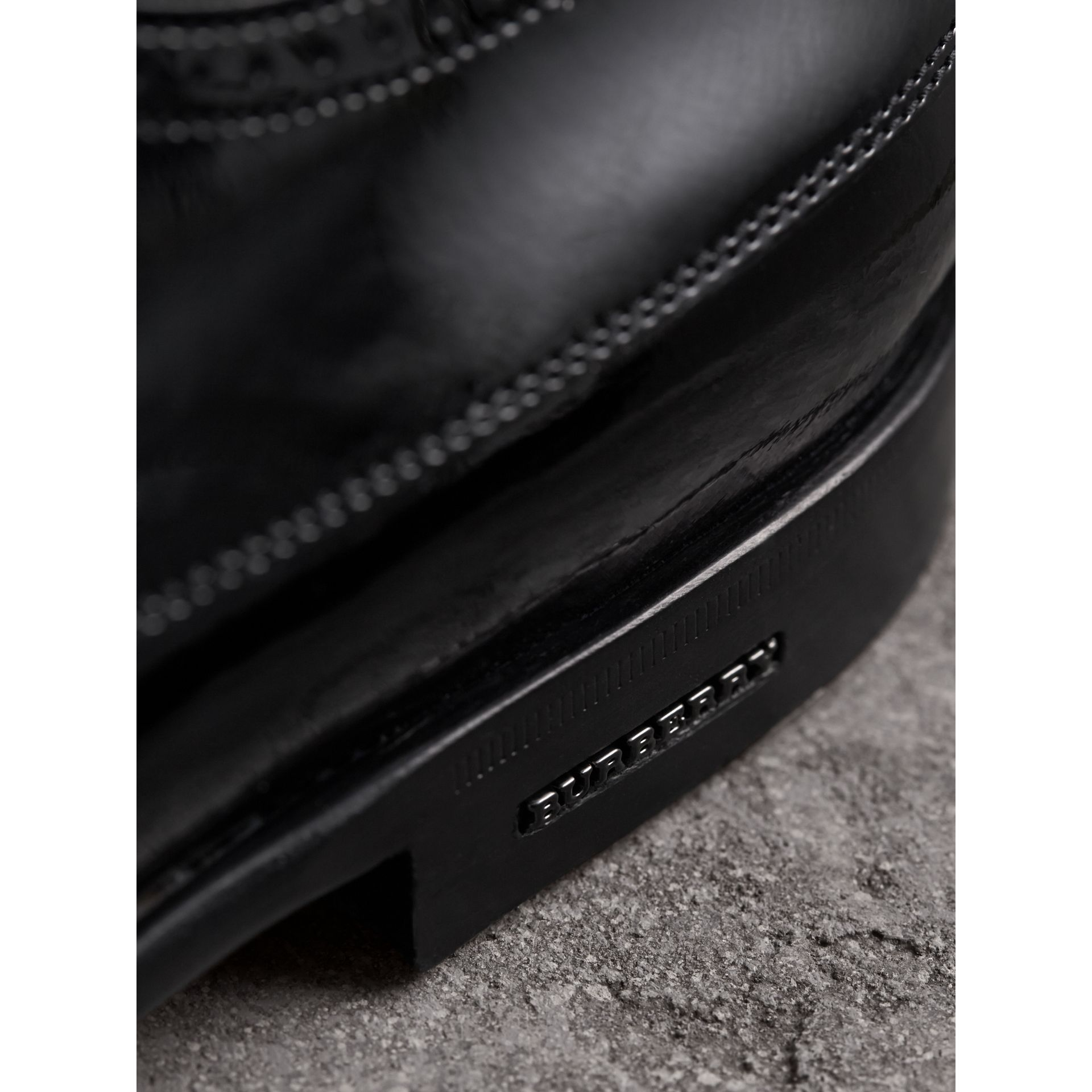 Broguing Detail Polished Leather Derby Shoes in Black - Men | Burberry Australia - gallery image 2