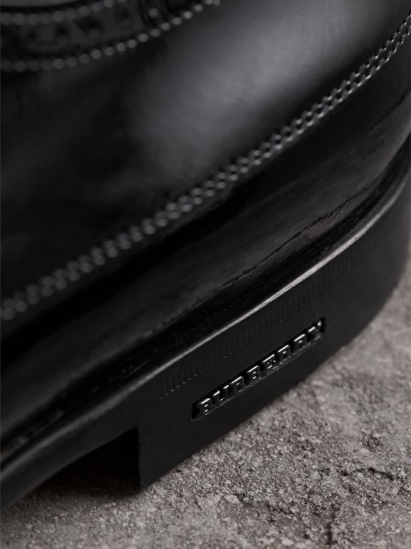 Broguing Detail Polished Leather Derby Shoes in Black - Men | Burberry - cell image 1