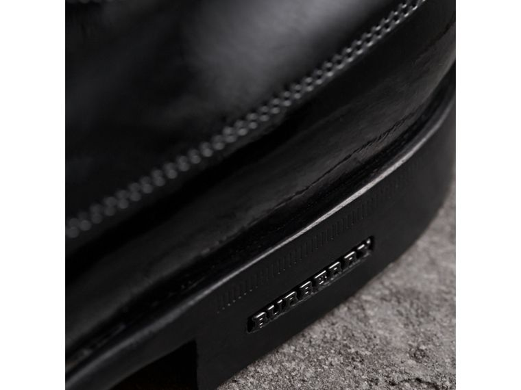 Broguing Detail Polished Leather Derby Shoes in Black - Men | Burberry United States - cell image 1