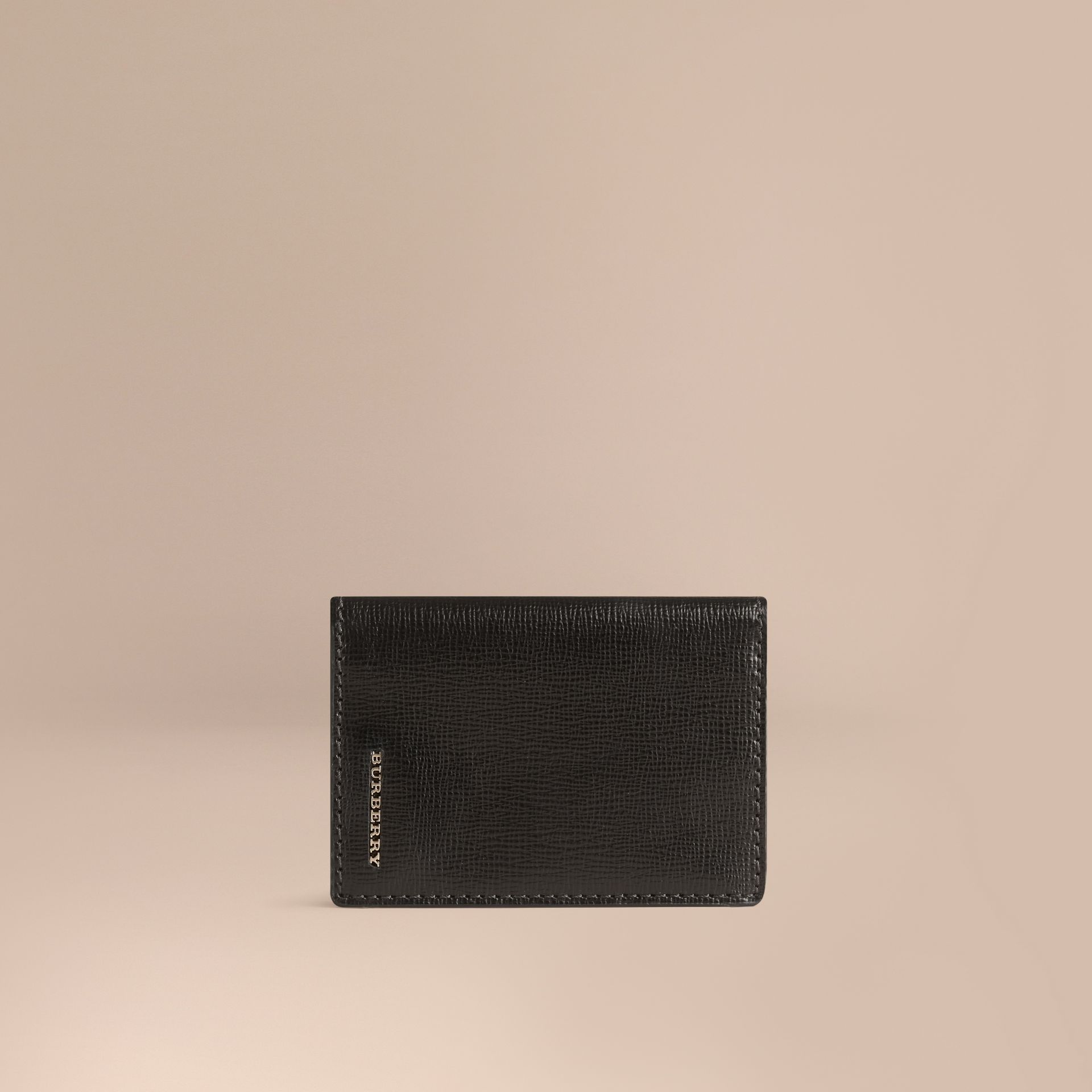 London Leather Folding Card Case in Black | Burberry - gallery image 1