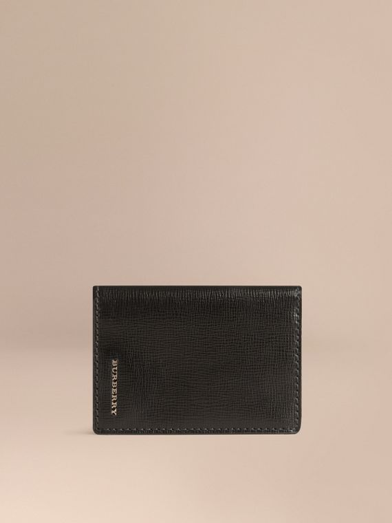 London Leather Folding Card Case in Black | Burberry
