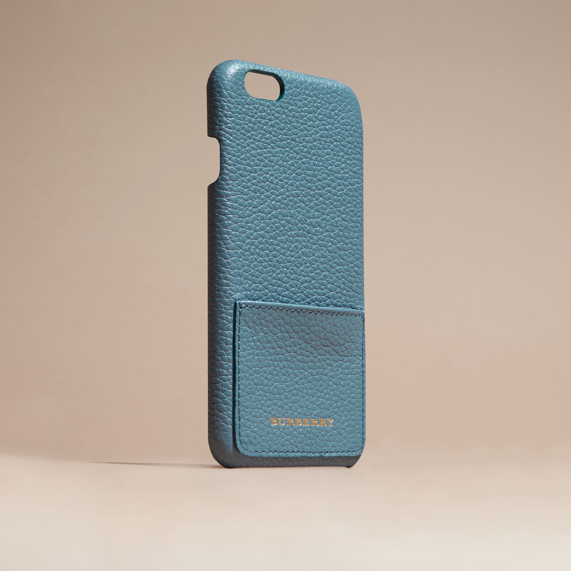 Grainy Leather iPhone 6 Case in Dusty Teal | Burberry Australia - gallery image 3