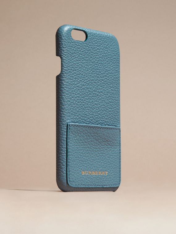 Custodia per iPhone 6 in pelle a grana (Blu Alzavola Polvere) | Burberry - cell image 2