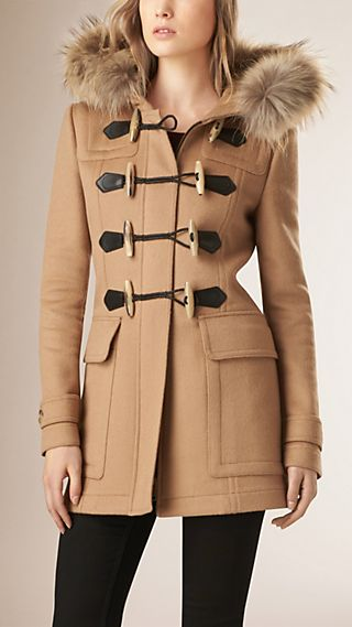 Detachable Fur Trim Wool Duffle Coat