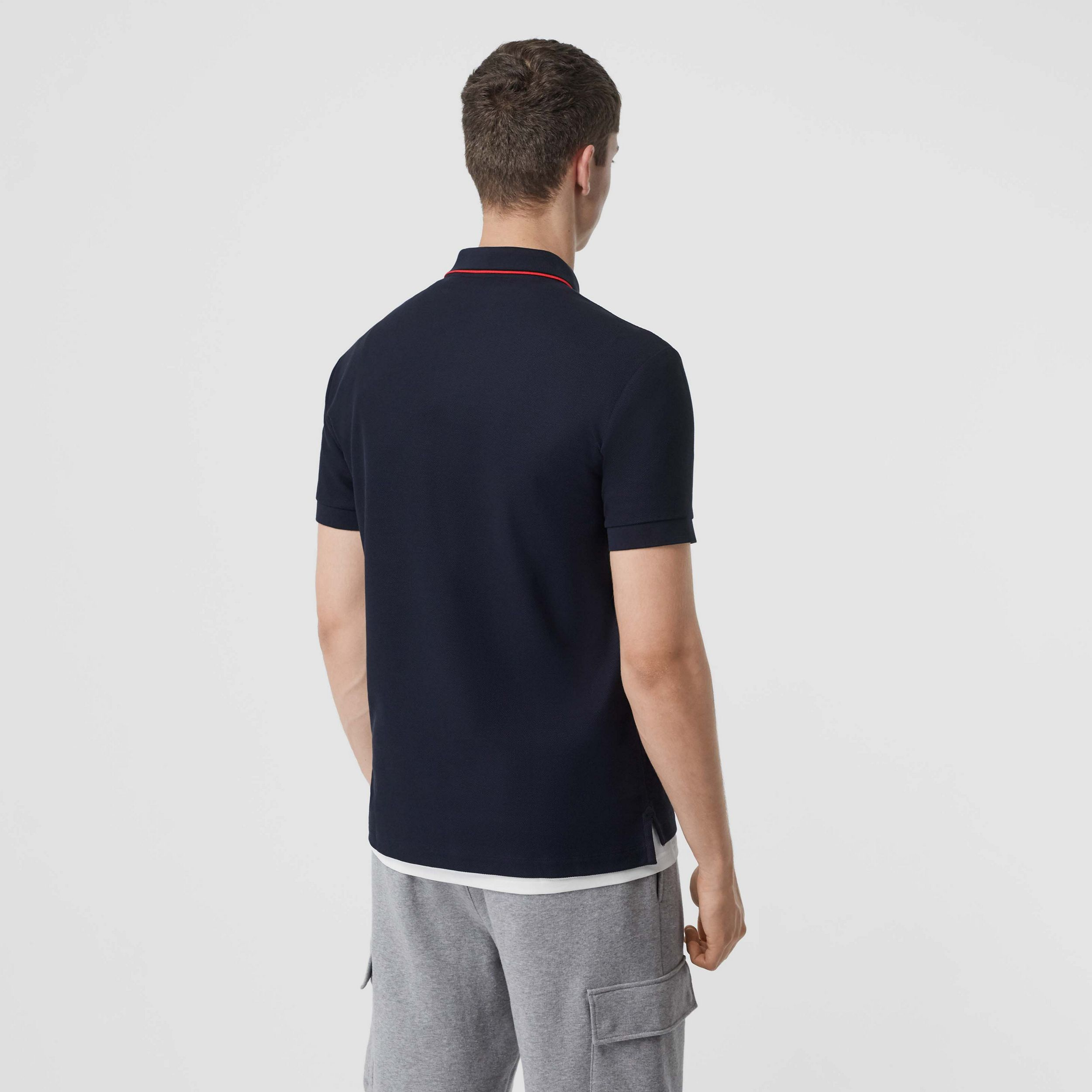 Icon Stripe Placket Cotton Piqué Polo Shirt in Navy - Men | Burberry Singapore - 3