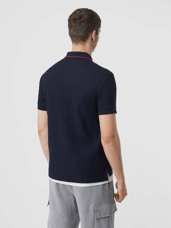 Icon Stripe Placket Cotton Piqué Polo Shirt in Navy - Men | Burberry - cell image 2