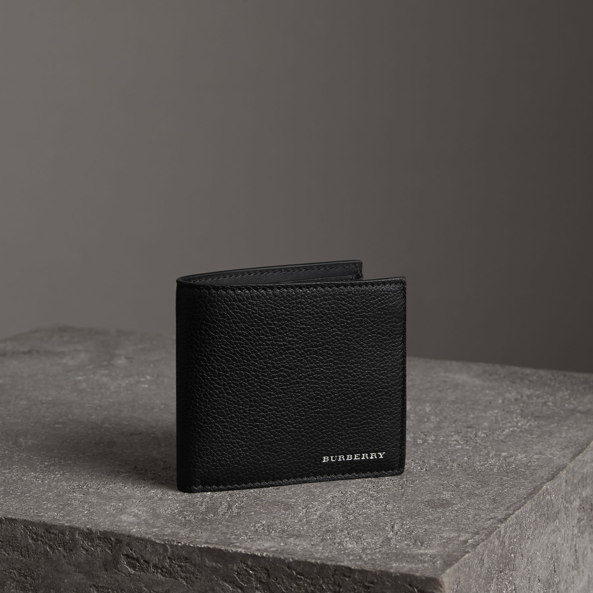 Grainy Leather International Bifold Coin Wallet in Black - Men | Burberry - gallery image 0