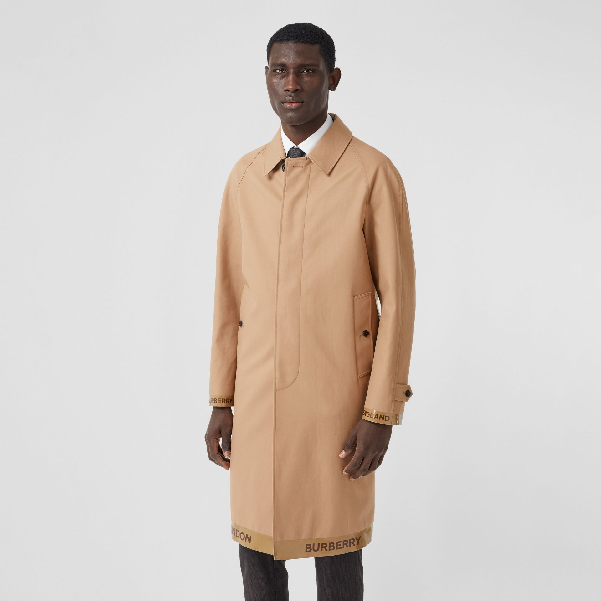 Logo Tape Cotton Car Coat in Warm Walnut - Men | Burberry - gallery image 7