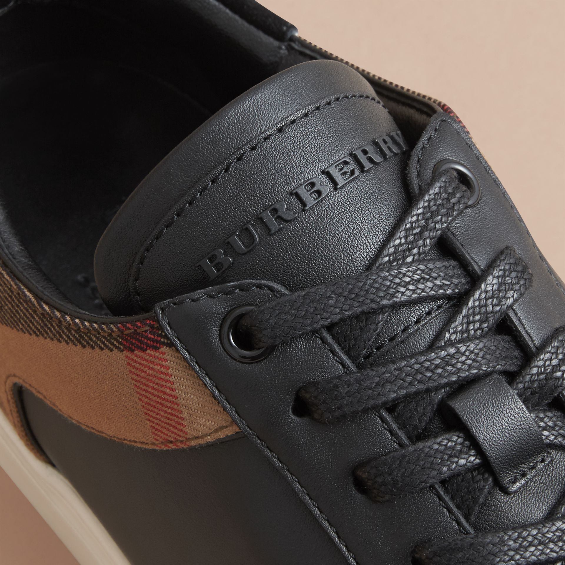 Leather and House Check Trainers in Black - gallery image 2