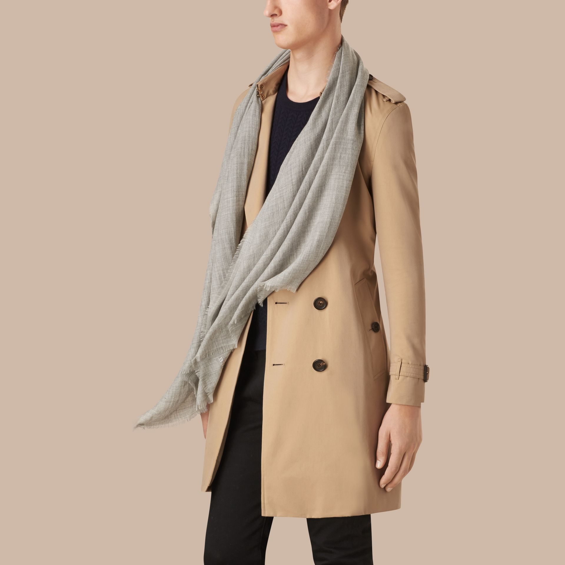 Pale grey The Lightweight Cashmere Scarf Pale Grey - gallery image 4