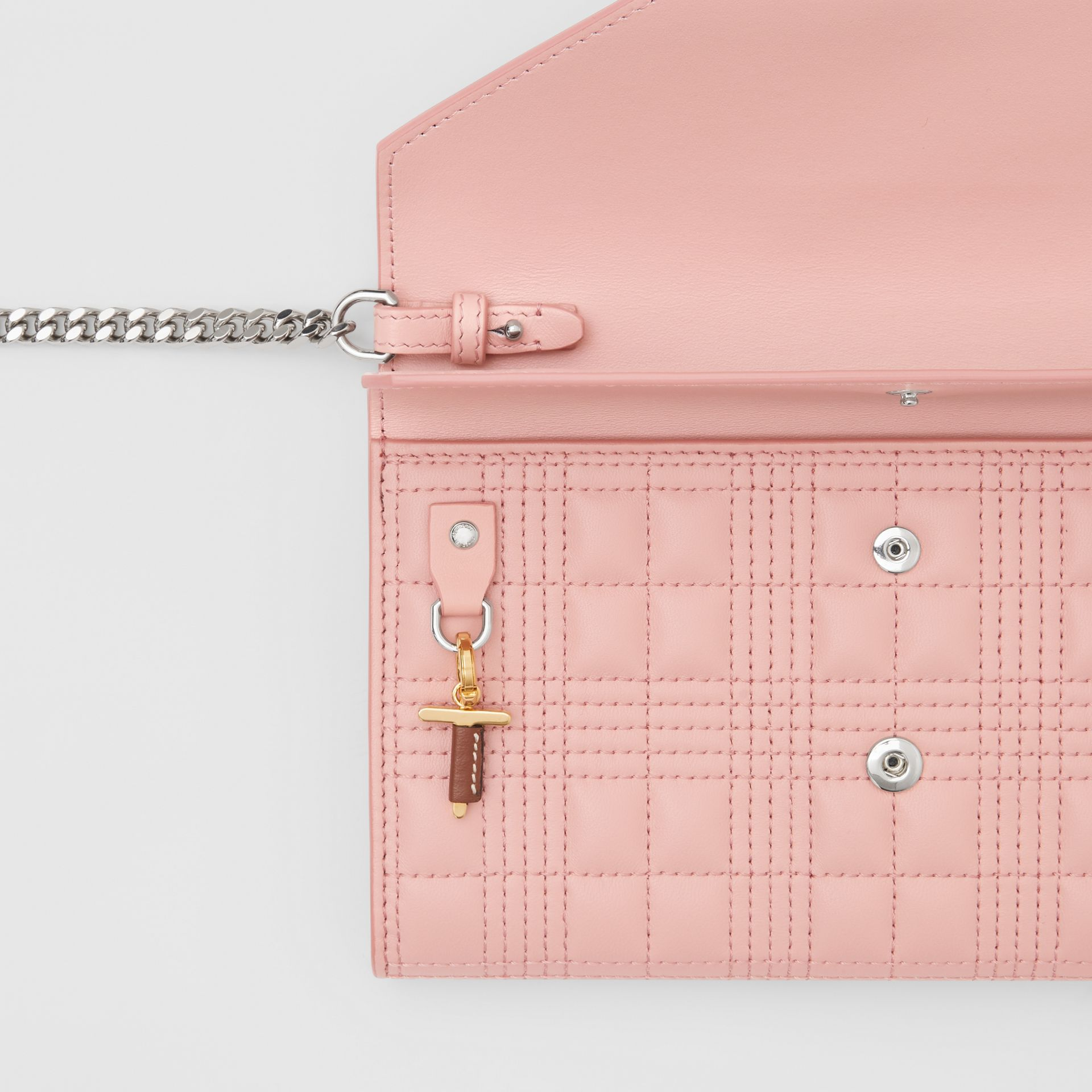 Quilted Lambskin Wallet with Detachable Chain Strap in Blush Pink - Women | Burberry - gallery image 8