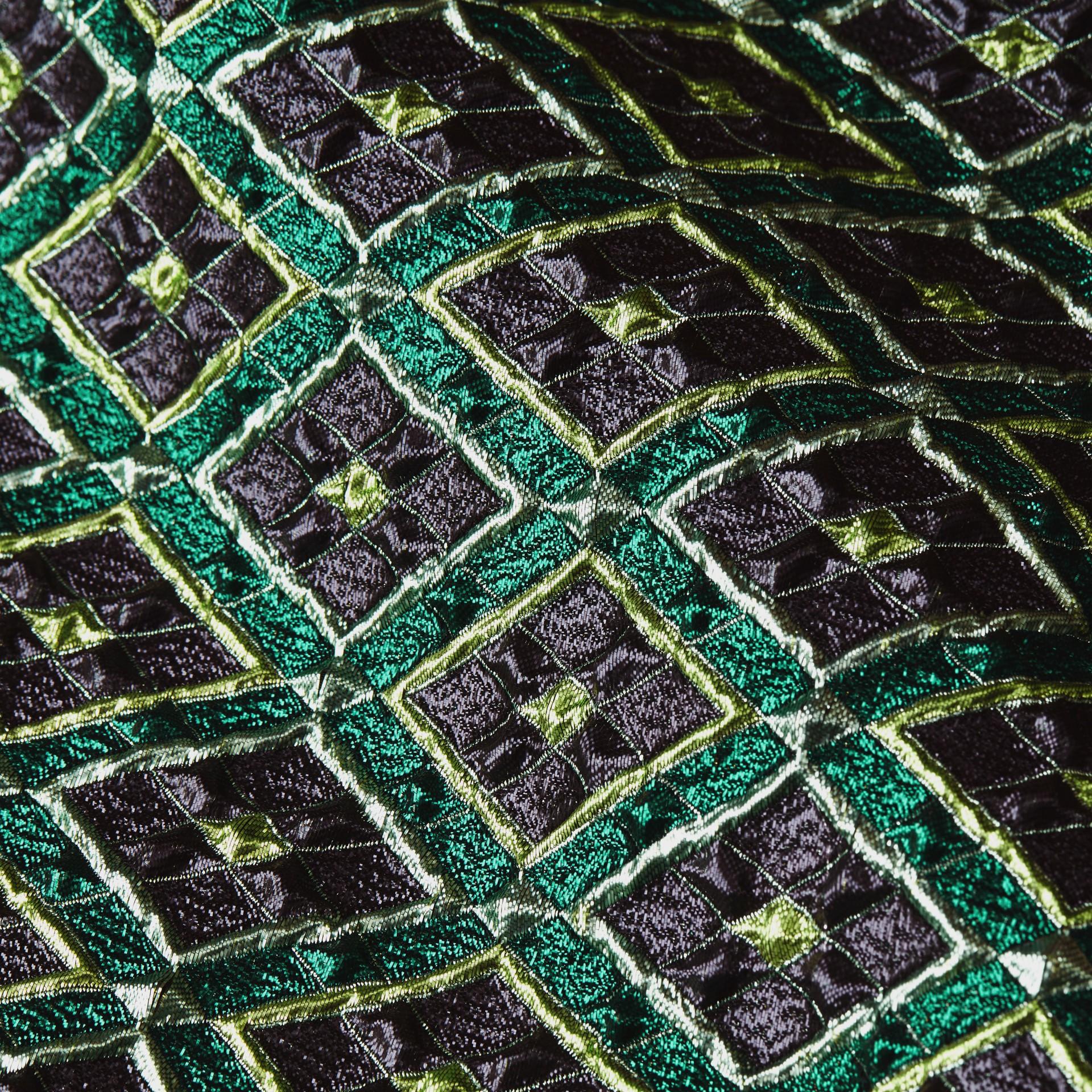 Deep green Patchwork Check Jacquard Dress - gallery image 2