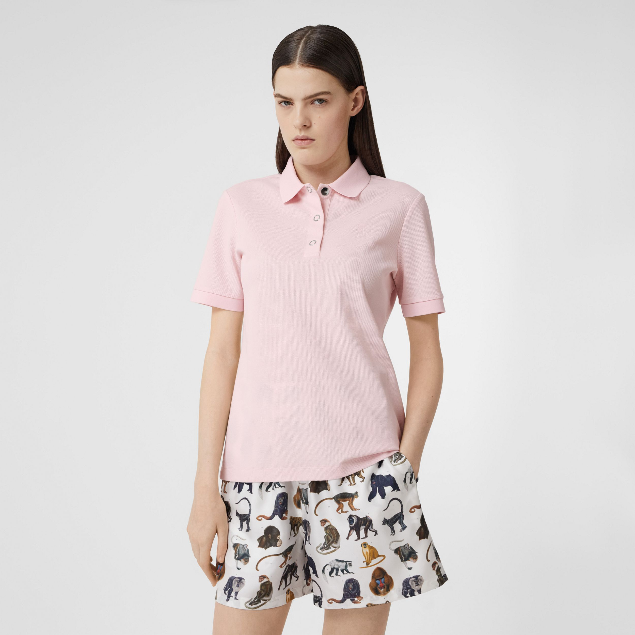 Monogram Motif Cotton Piqué Polo Shirt in Alabaster Pink - Women | Burberry - 1