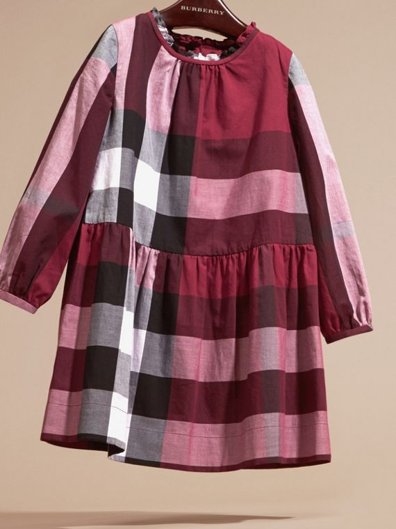 Dark plum pink Check Cotton Dress with Ruffle Detail Dark Plum Pink - cell image 2